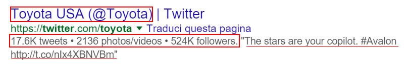 serp google, profilo twitter