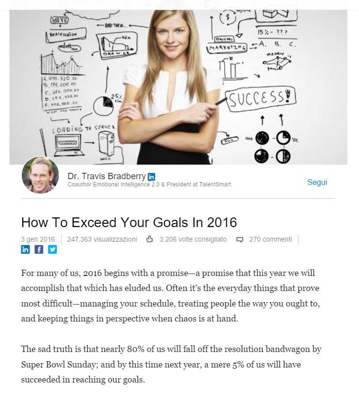 esempio di articolo su Linkedin Pulse